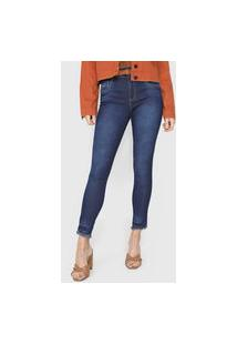 Calça Cropped Jeans Biotipo Skinny Estonada Azul-Marinho