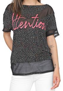 Camiseta My Favorite Thing(S) Recortes Tule Preta