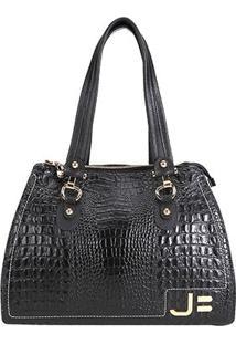 Bolsa Couro Jorge Bischoff Handbag Croco Feminina - Feminino-Preto