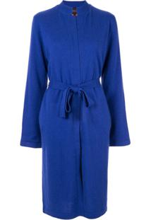 Shanghai Tang Cardigan Com Cinto - Azul
