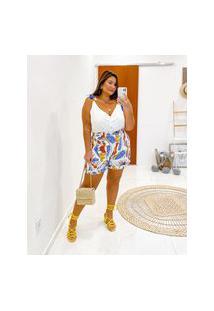 Bermuda Estampada Almaria Plus Size Miss Taylor Bolso-Faca Off-White