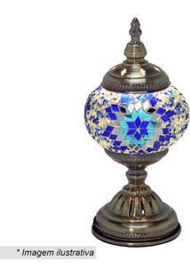 Abajur- Ouro Velho & Azul- 28X13,5X13,5Cm- Bivolmabruk