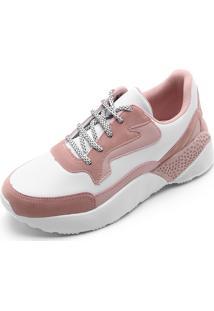 cff6f3db8d448 Dafiti. Calçado Tênis Feminino Fiveblu Branco Rosa Dad Sneaker Branco Rosa  Chunky