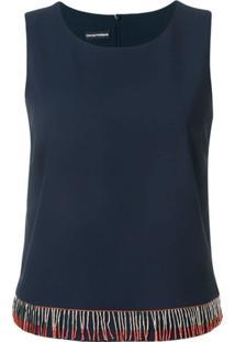 Emporio Armani Blusa Com Aplicações - Azul