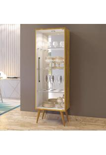 Cristaleira 1 Porta De Vidro 3 Prateleiras Safira Plus Mavaular Mel/Off White