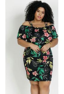 Vestido Floral Preto Com Babado Plus Size