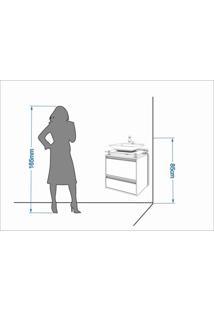 Gabinete De Banheiro 1 Cuba Sobreposta Em Base De Vidro Faro Mgm Móveis Café/Branco