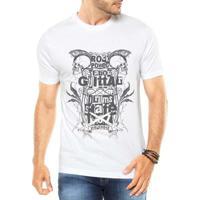 ee7e27450cd14 Camiseta Criativa Urbana Rock Caveiras - Masculino-Branco