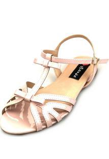 Sandália Rasteira Love Shoes Salomé Tiras Verniz Laço Rosa