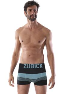 Cueca Boxer Sem Costura Corpo Preto Listras Tons Azuis