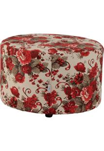 Puff Redondo Pastilha Linho Floral Vermelho