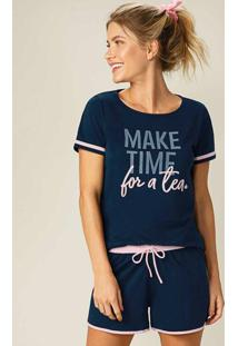 Pijama Azul Escuro Make Time For A Tea Feminino