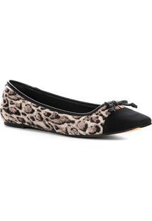 Sapatilha Couro Shoestock Animal Print Panther Feminina