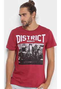 Camiseta Burn Brooklyn District Masculina - Masculino-Vinho