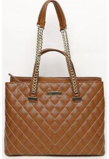 Bolsa Em Matelassê Com Pespontos- Marrom & Dourada- Santa Lolla