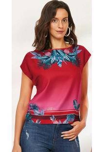 Blusa Vermelha Cetim Folhagem Malwee