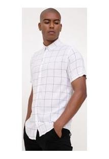 Camisa Com Estampa Grid Em Viscose