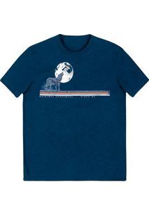 Camiseta Masculina Slim Em Malha Flamê De Algodão Com Estampa Frontal