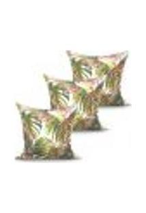 Conjunto De Capas Para Almofada Com 3 Peças Atlanta Verde 45X45 Cm