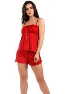 Pijama Imi Lingerie Short Doll Baby Doll Renda Julia Feminino - Feminino-Vermelho