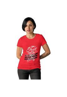 Camiseta Feminina Ezok Caution Sk8R Vermelho