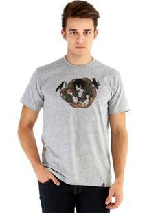 Camiseta Ouroboros Manga Curta Branca De Neve - Masculino-Cinza