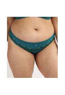 Calcinha Feminina Dilady Plus Size Biquíni Em Microfibra Verde Escuro