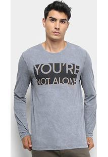 Camiseta Calvin Klein Manga Longa Dupla Face Masculina - Masculino-Grafite