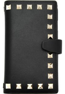 Valentino Clutch Case Para Iphone 7/8 De Couro - Preto