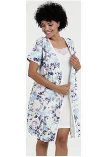 Robe Feminino Estampa Floral Manga Curta Marisa