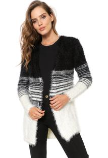 Cardigan My Favorite Thing(S) Tricot Pelo Preto/Off-White