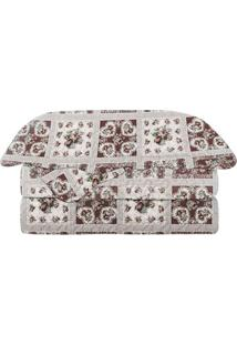 Conjunto De Colcha Evolution Patchwork King Size- Bordô Camesa