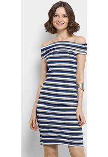 Vestido Aura Ombro A Ombro Listrado Feminino - Feminino-Azul