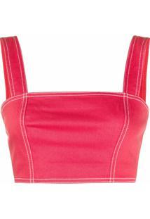 Balmain Blusa Cropped Com Bustier - Vermelho