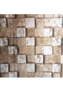 Kit 4 Rolos De Papel De Parede Fort Line Lavável Pedra Mosaico Marrom