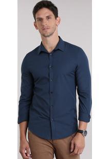 Camisa Slim Listrada Azul Marinho