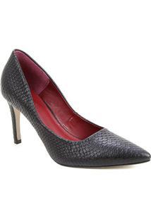 Scarpin Couro Shoestock Salto Alto Serpente - Feminino-Preto