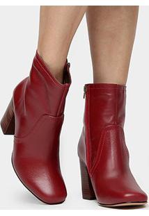 Bota Couro Shoestock Bico Quadrado Feminina
