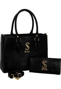 Kit Bolsa Couro Croco Anaconda Handbag Textura + Carteira Feminina - Feminino-Preto