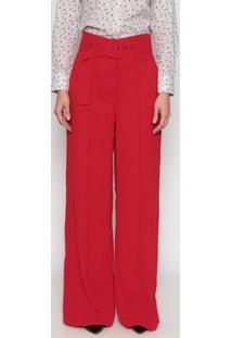 Calça Pantalona Com Recortes - Vermelhadudalina