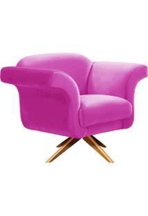 Poltrona Decorativa Troia Suede Pink Com Base Giratória De Madeira - D'Rossi