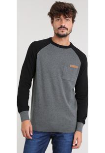 Suéter Masculino Raglan Em Tricô Com Bolso Gola Redonda Cinza Mescla Escuro