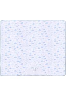 Toalha De Banho Papi Bordada- Branca & Azul- 75X90Cmpapi