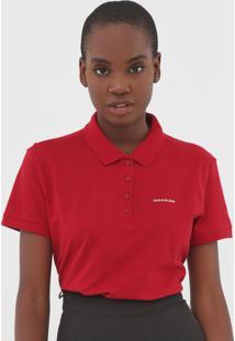 Camisa Polo Calvin Klein Jeans Piq Reat Vermelha