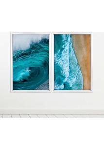 Quadro Com Moldura Chanfrada Beach Branco - Médio