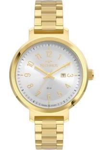 Relógio Technos Cristal Mineral Feminino - Feminino-Dourado