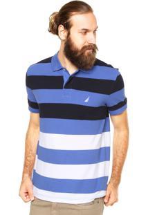 Camisa Polo Nautica Faixas Azul
