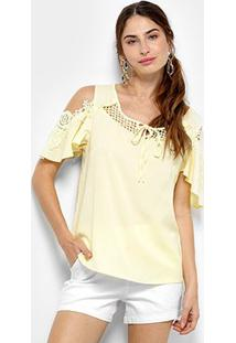 Blusa Open Shoulder Top Moda Com Renda Feminina - Feminino-Amarelo