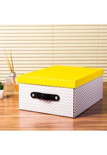 Caixa Organizadora Dobrável Branca E Preta Com Tampa Amarela Coisas E Coisinhas