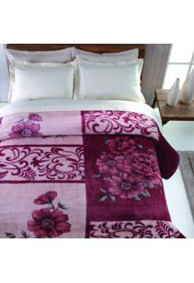 Cobertor Casal Nantes Poliéster Microfibra Jolitex 1,80Mx2,20M Vinho